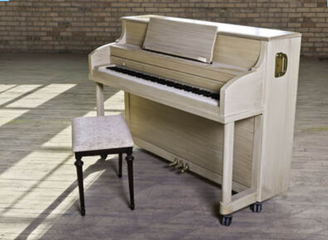 A piano that has been moved and is waiting to be tuned