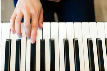 Picture of the hand of a young woman with colorful fingernails ready to play a piano