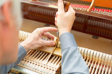 Picture of an elder piano technician softening the felt of a piano's hammers using a needle